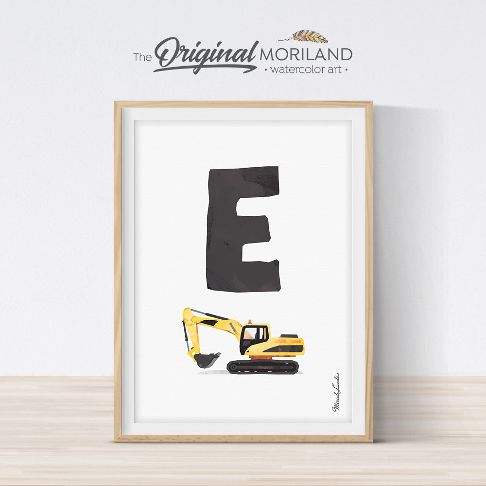 transportation Alphabet letter E excavator digger print for boy and nursery decor