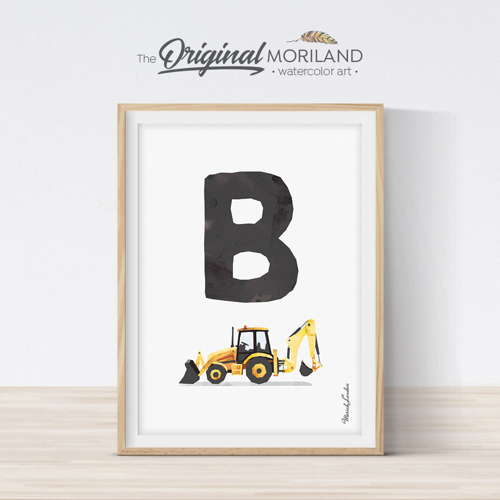 transportation Alphabet letter B Backhoe digger print for boy and nursery decor