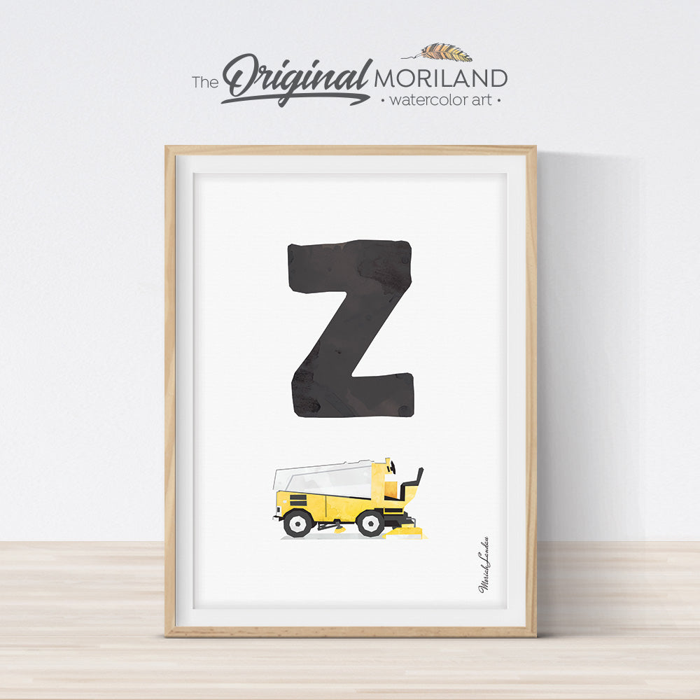 transportation Alphabet letter Z Zamboni print for boy and nursery decor