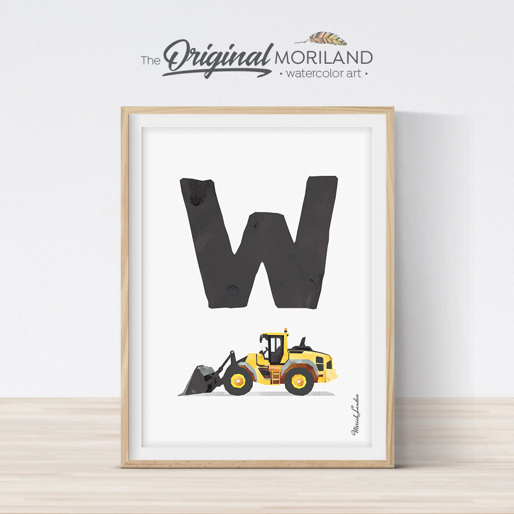 transportation Alphabet letter W Wheel Loader print for boy and nursery decor