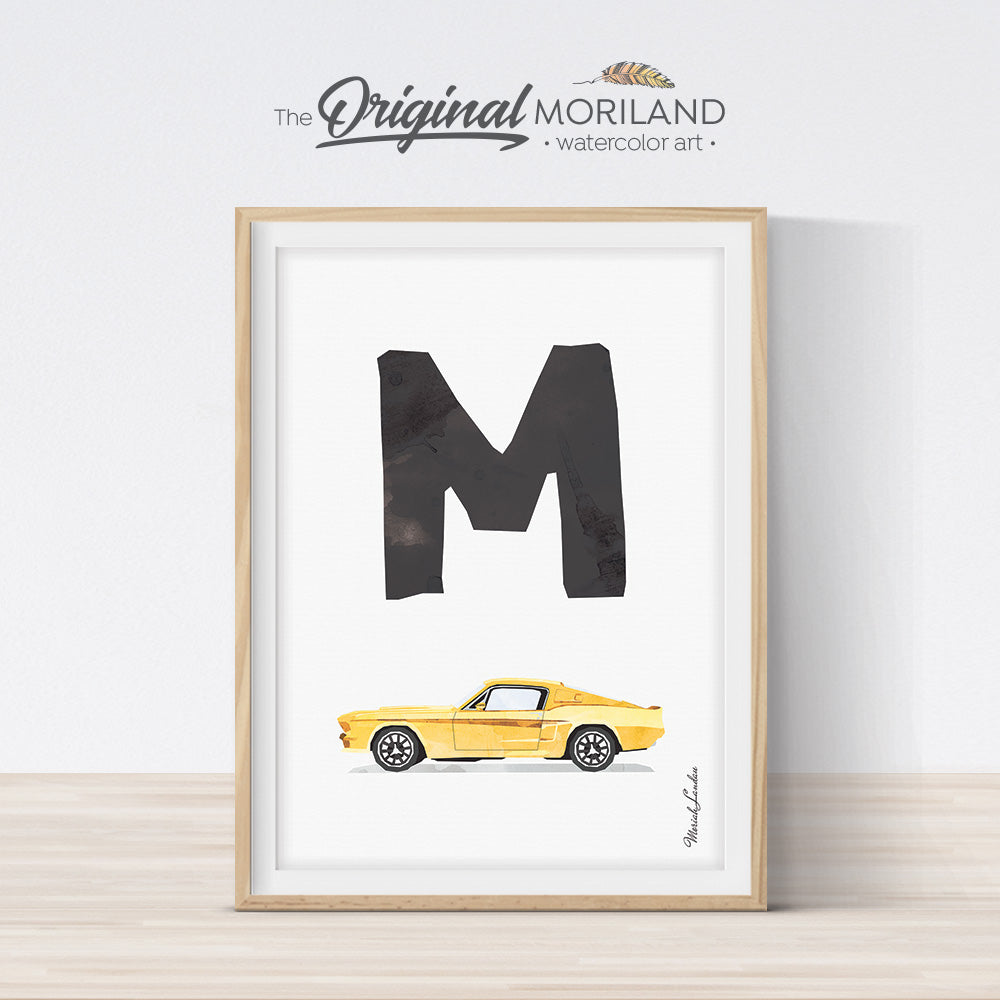 Letter M classic car print wall art preschool and kids room decor