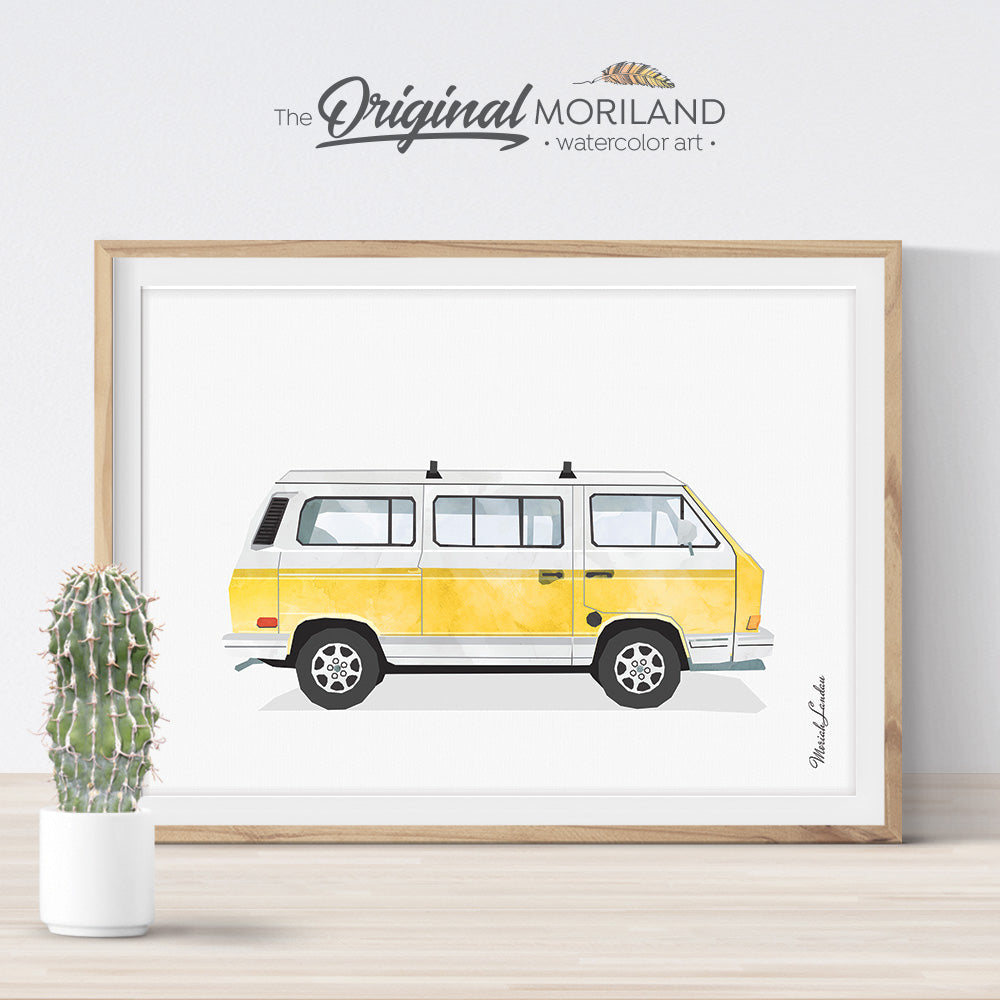 Vintage Yellow Van Wall Art Print for kids room decor