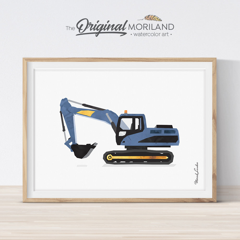 Digger Excavator Wall Art Print for big boy room decor and nursery