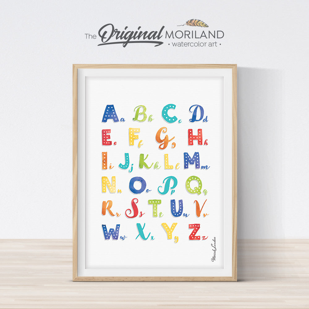 watercolor multicolor Alphabet poster print for kids room decor