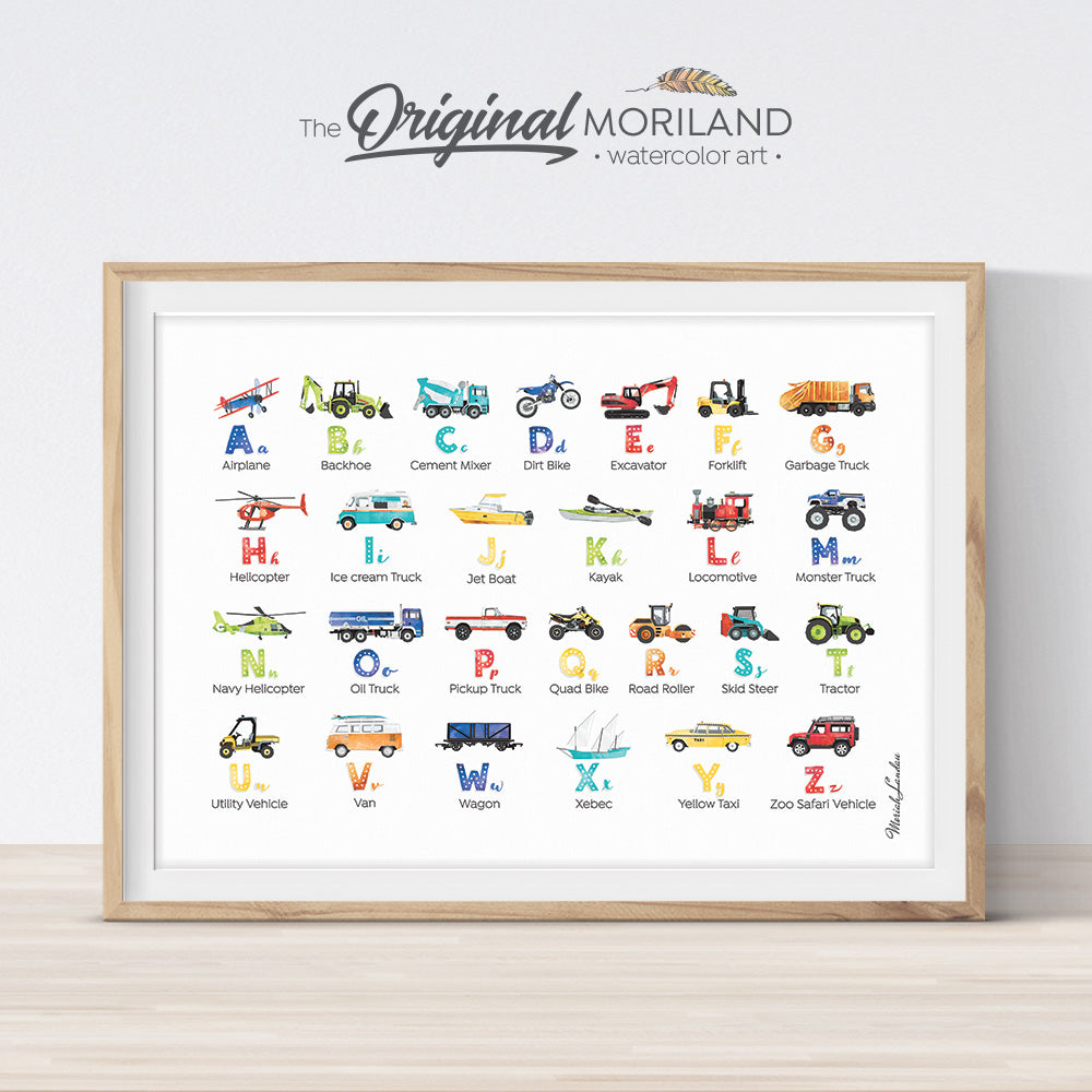 Transportation vehicle Alphabet print for boy room decor