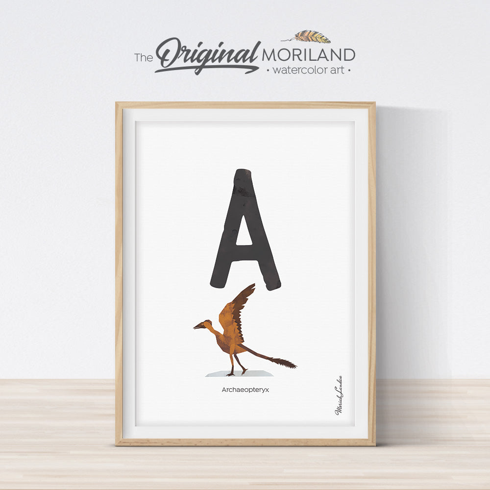 Dinosaur alphabet wall art print for boy room decor, letter A