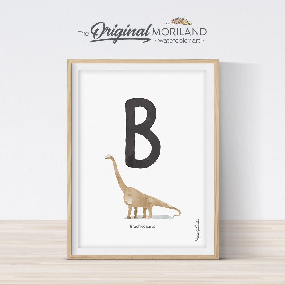 Watercolor Dinosaur Alphabet letter B wall art print for big boy room decor - by MORILAND