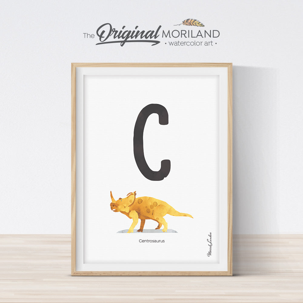 Dinosaur alphabet wall art print for boy room decor, letter C