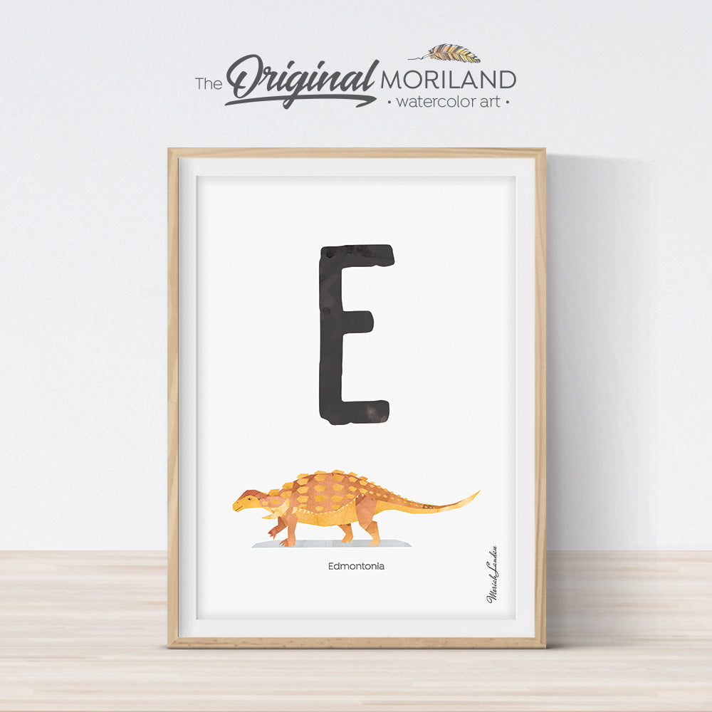 Dinosaur alphabet wall art print for boy room decor, letter E