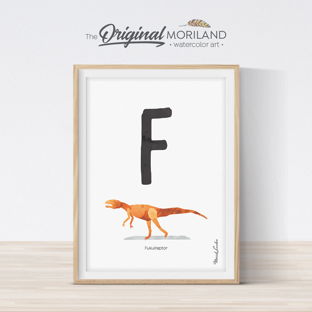 Watercolor Dinosaur Alphabet letter F wall art print for big boy room decor - by MORILAND