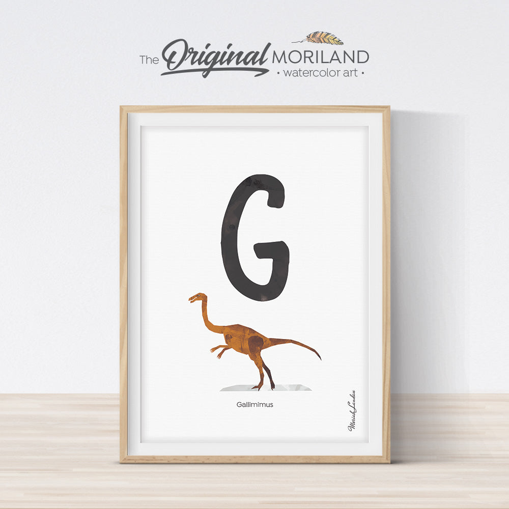 Watercolor Dinosaur Alphabet letter G wall art print for big boy room decor - by MORILAND