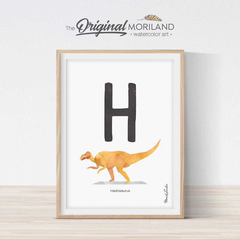 Watercolor Dinosaur Alphabet letter H wall art print for big boy room decor - by MORILAND