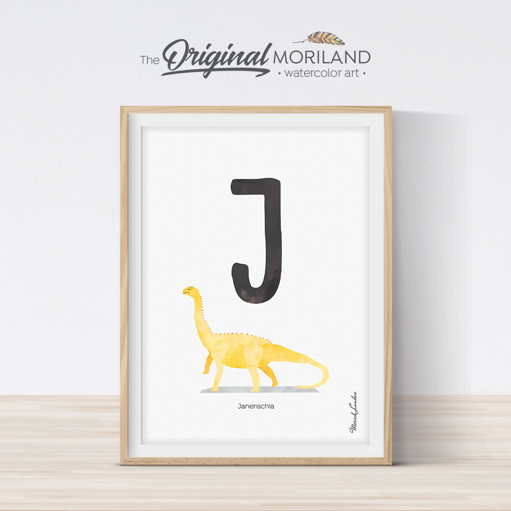 Watercolor Dinosaur Alphabet letter J wall art print for big boy room decor - by MORILAND