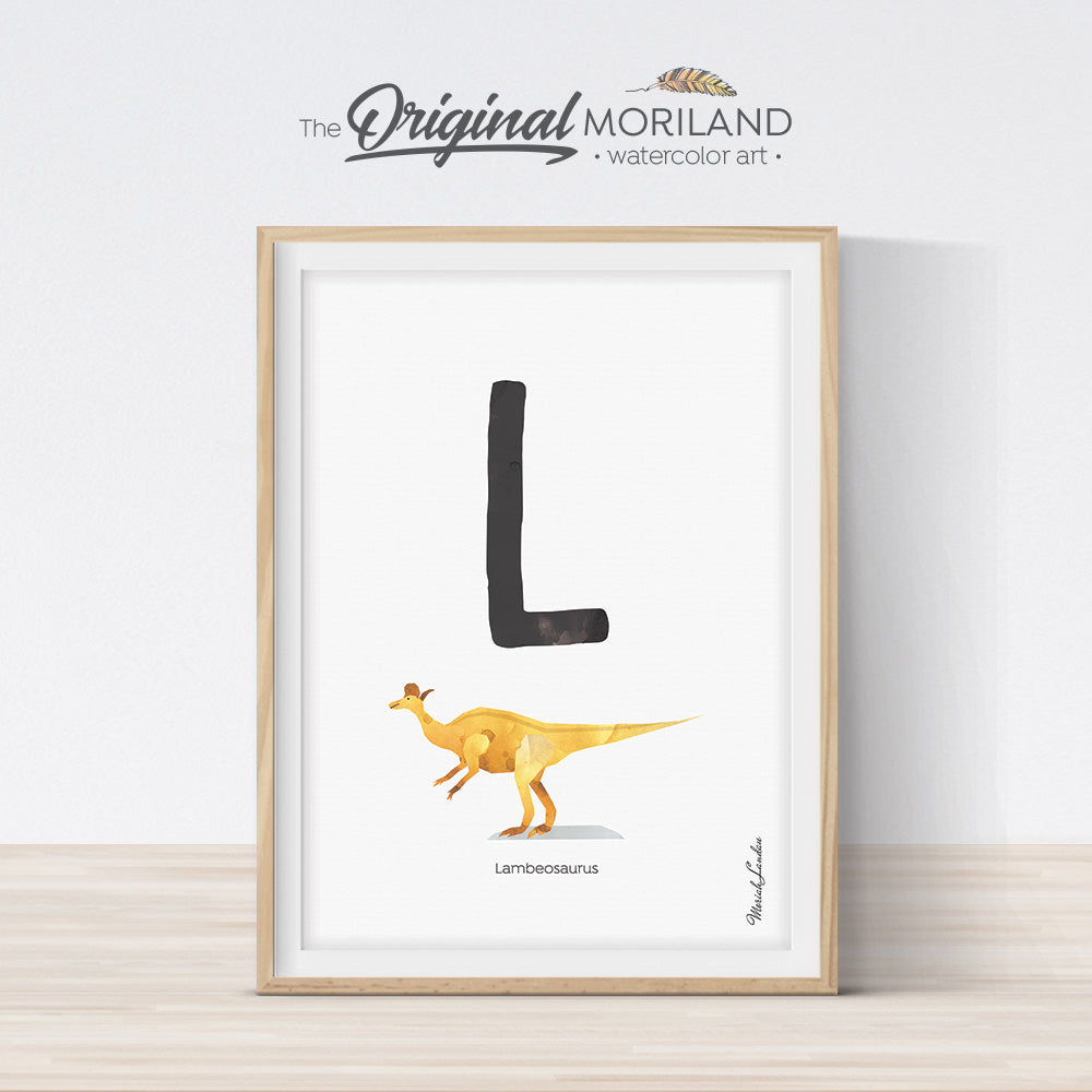 Dinosaur alphabet wall art print for boy room decor, letter L