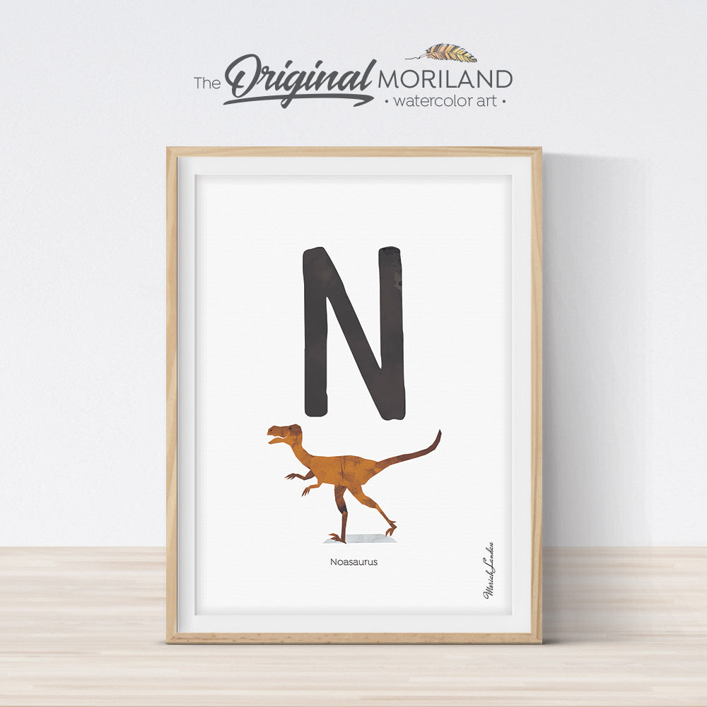 Watercolor Dinosaur Alphabet letter N wall art print for big boy room decor - by MORILAND