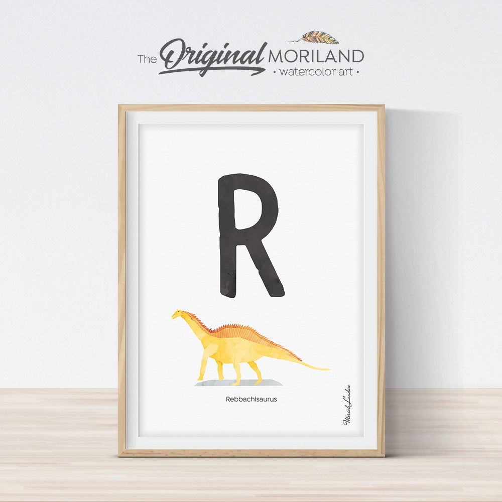 Dinosaur alphabet wall art print for boy room decor, letter R