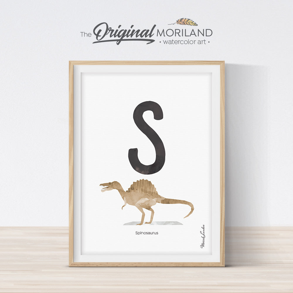 Watercolor Dinosaur Alphabet letter S Spinosaurus wall art print for big boy room decor - by MORILAND