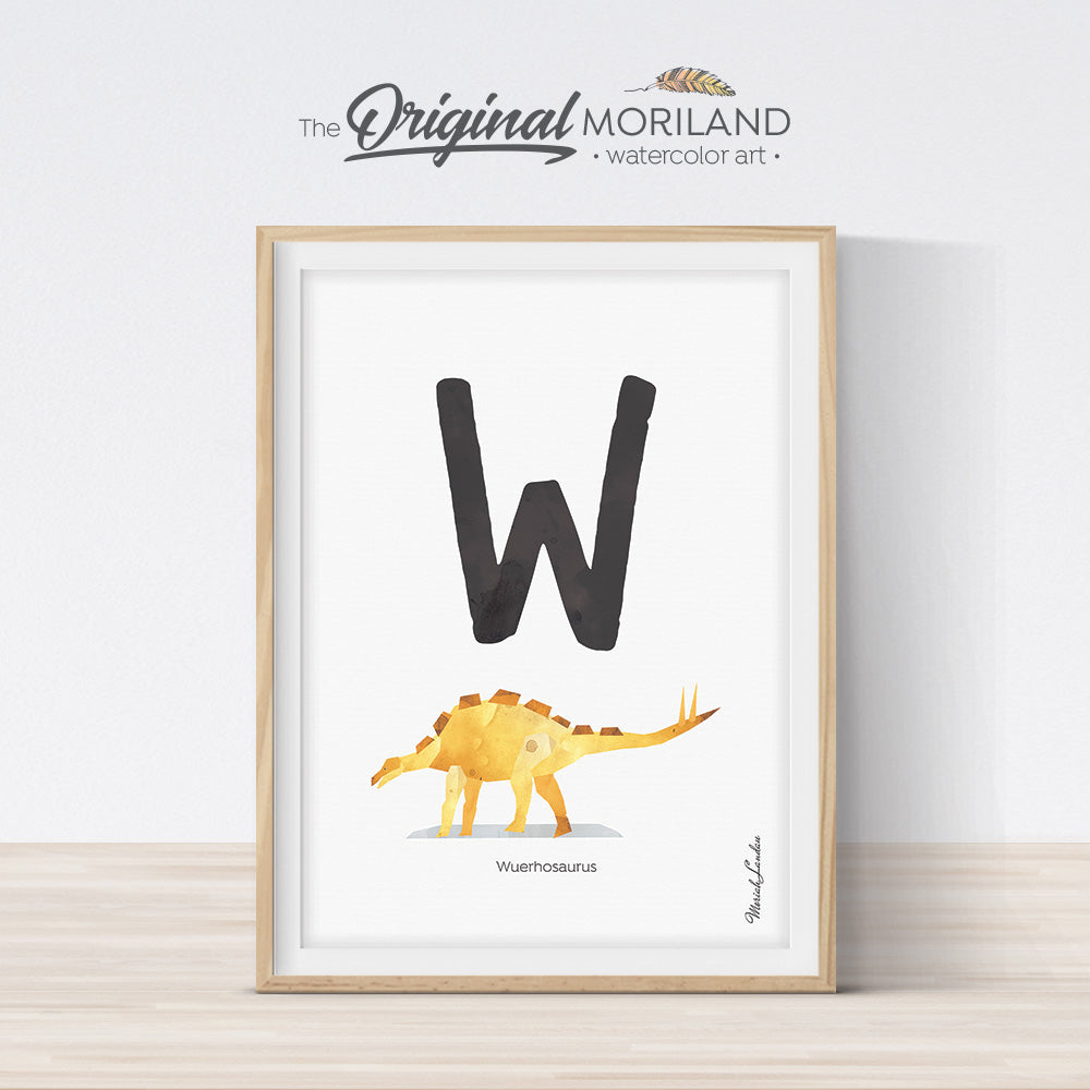 Dinosaur alphabet wall art print for boy room decor, letter W