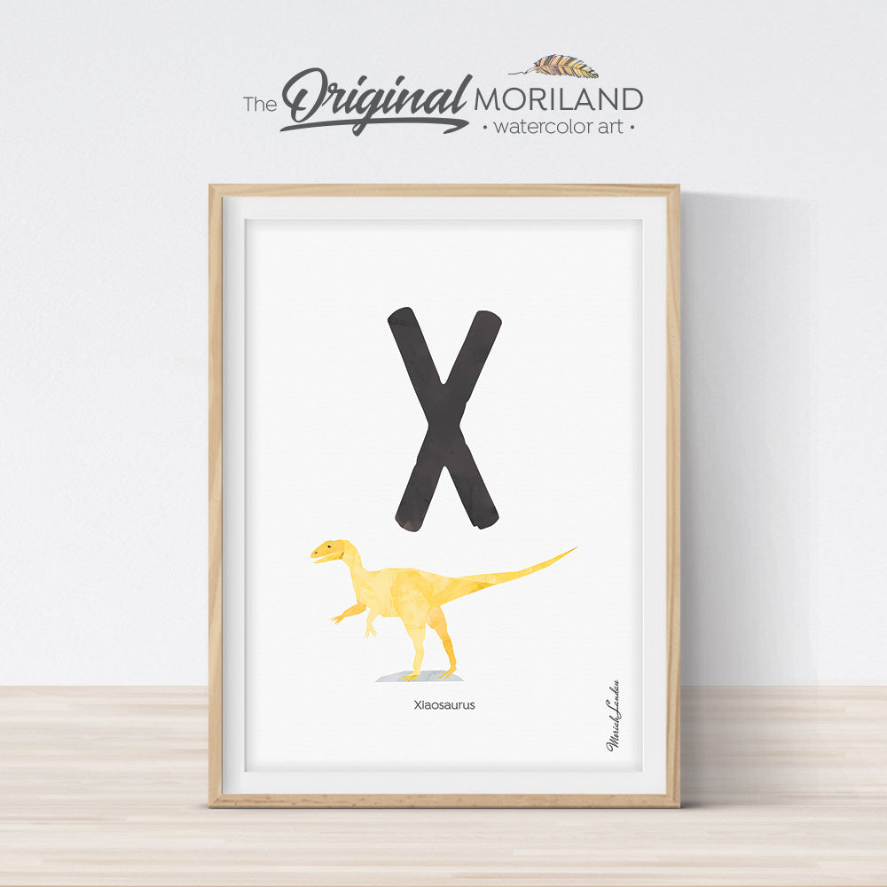 Watercolor Dinosaur Alphabet letter X wall art print for big boy room decor - by MORILAND