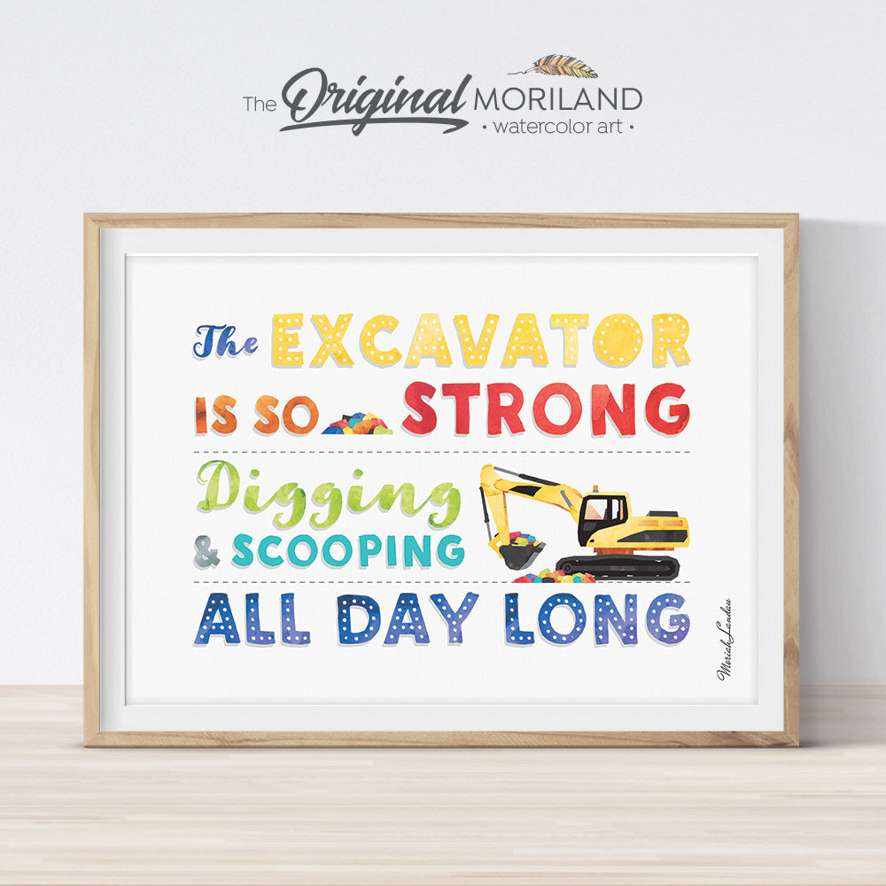Excavator Quote wall art by MORILAND for boy room decor
