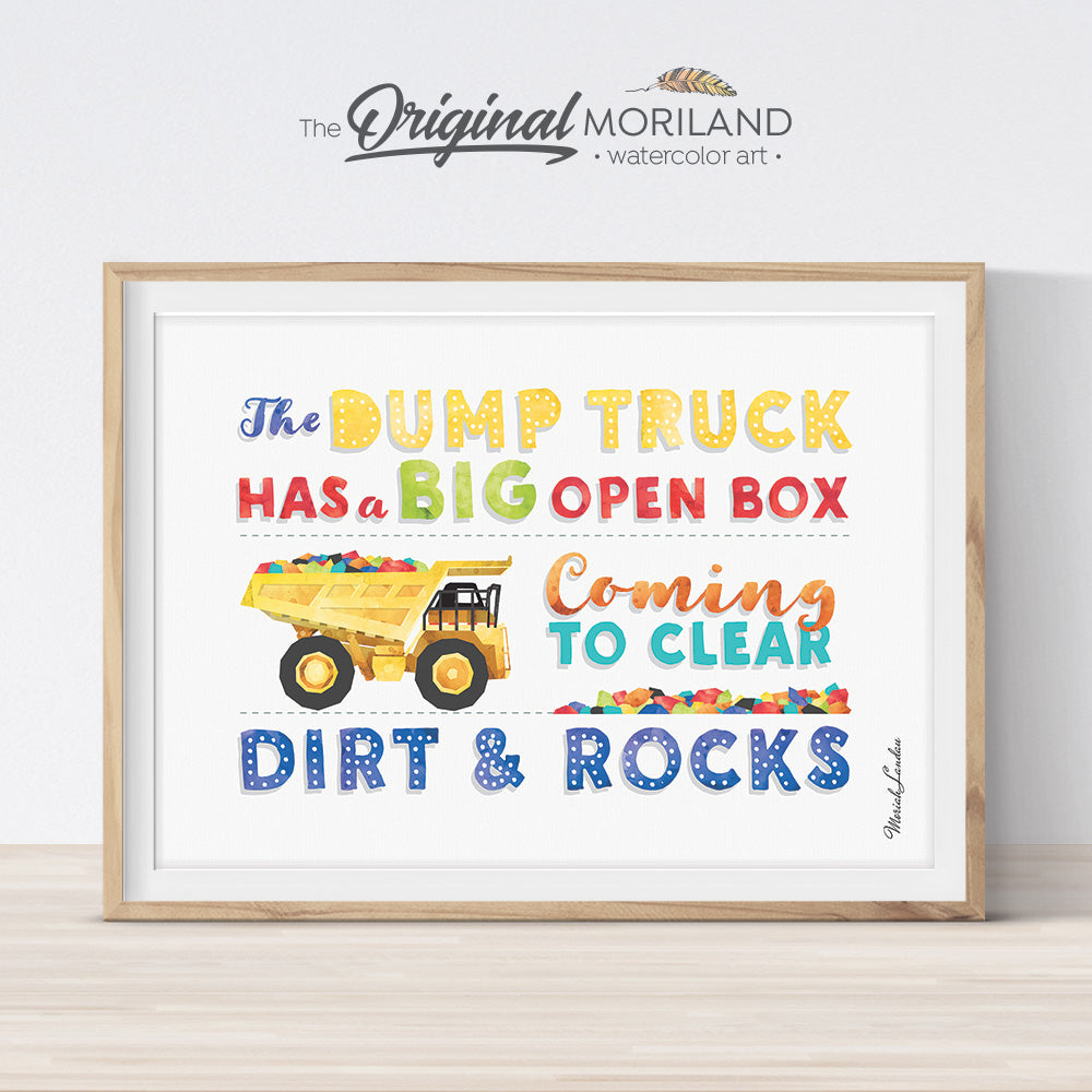 Dump Truck Quote wall art by MORILAND for boy room decor