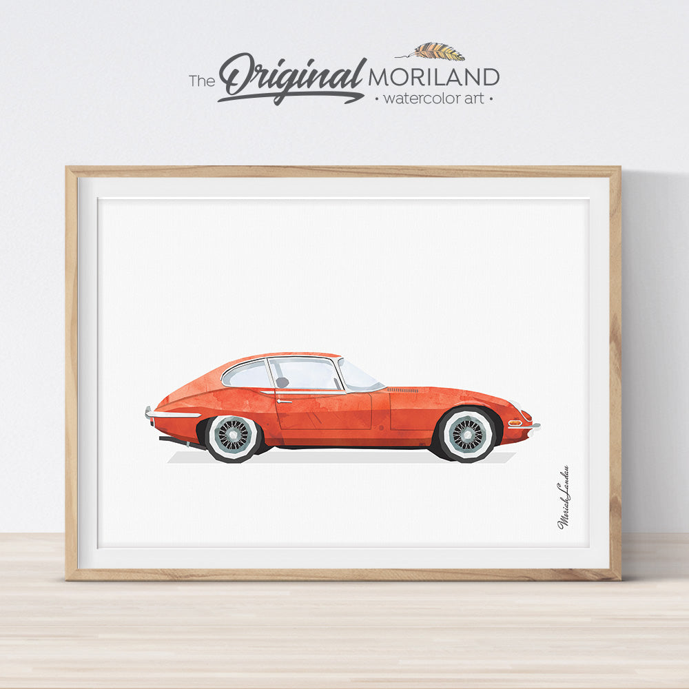 classic red car wall art poster for boy room decor