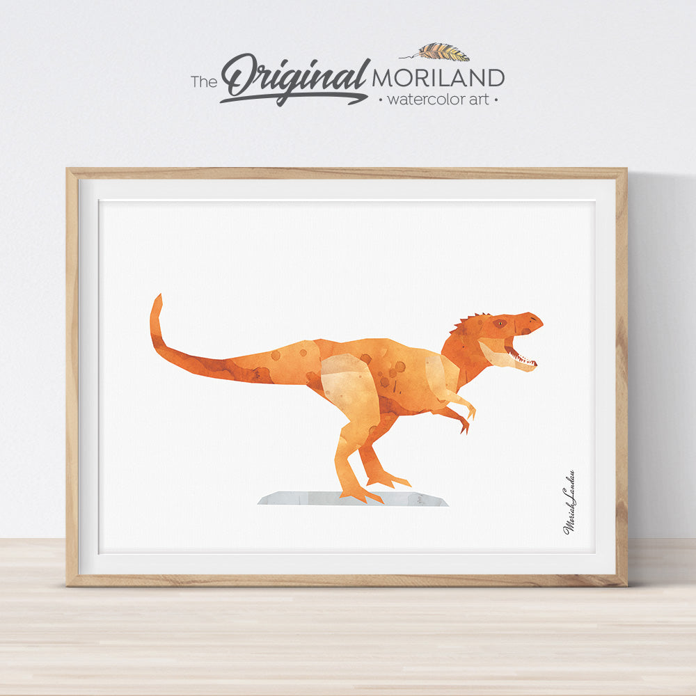 watercolor t-rex Tyrannosaurus dinosaur wall art print for boy room decor