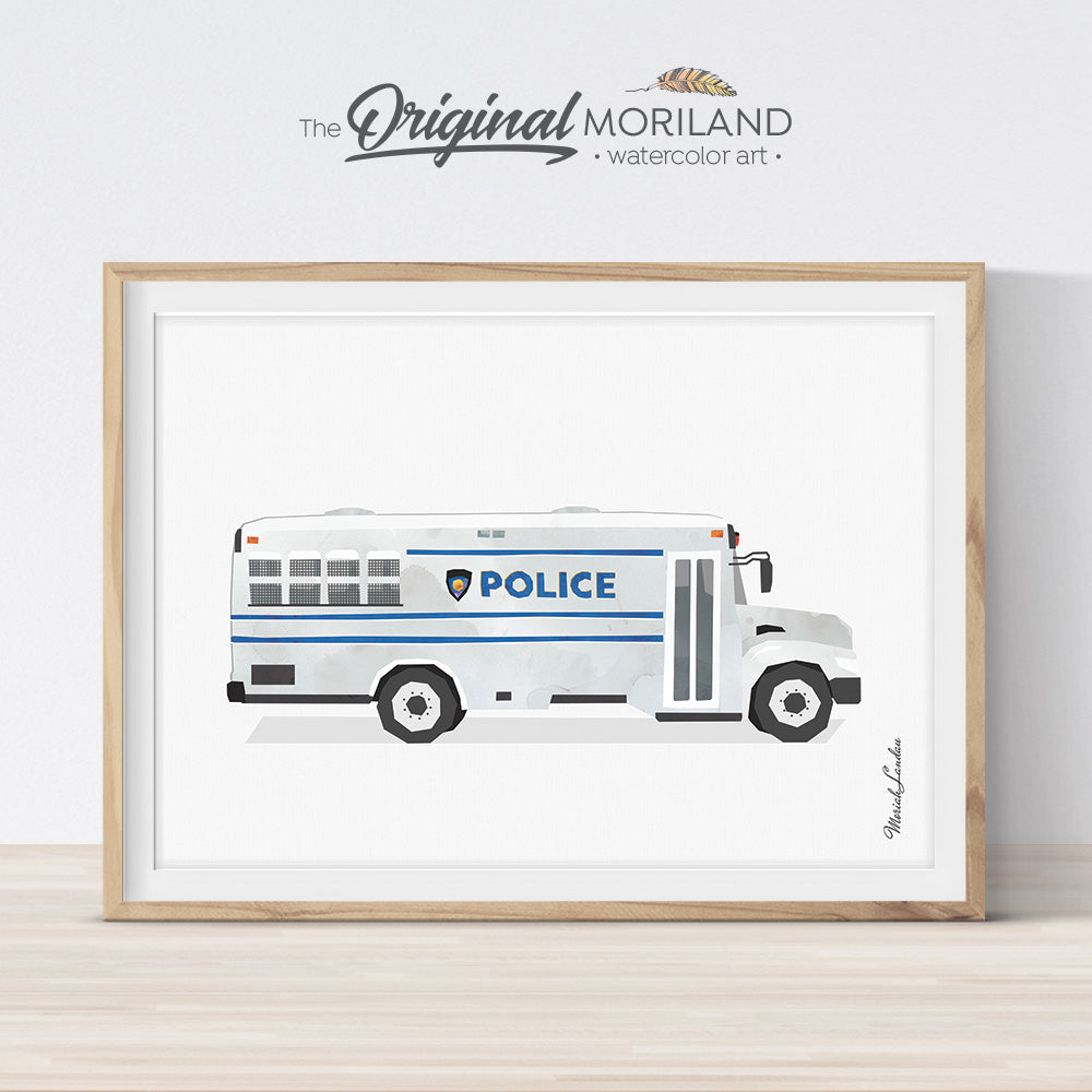 Police bus watercolor Print Printable Art for boys room decor