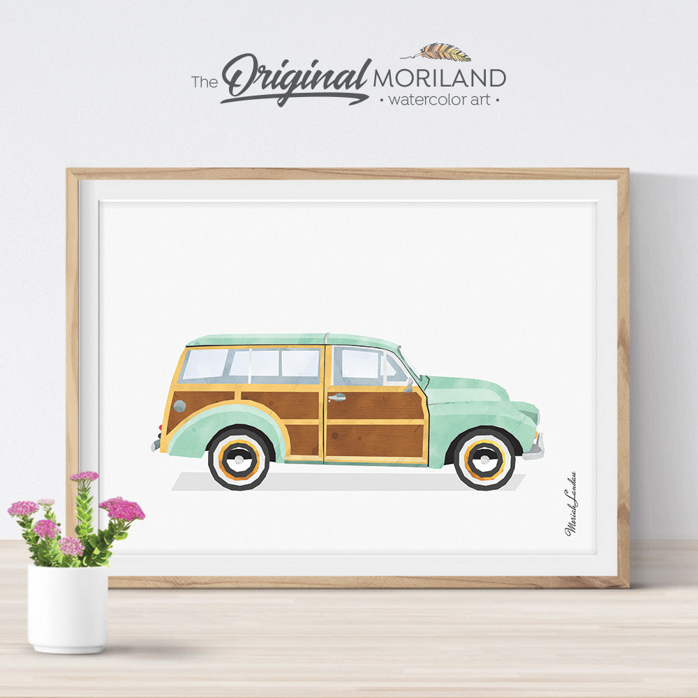 Vintage classic Woodie Car wall art Print for kids room decor