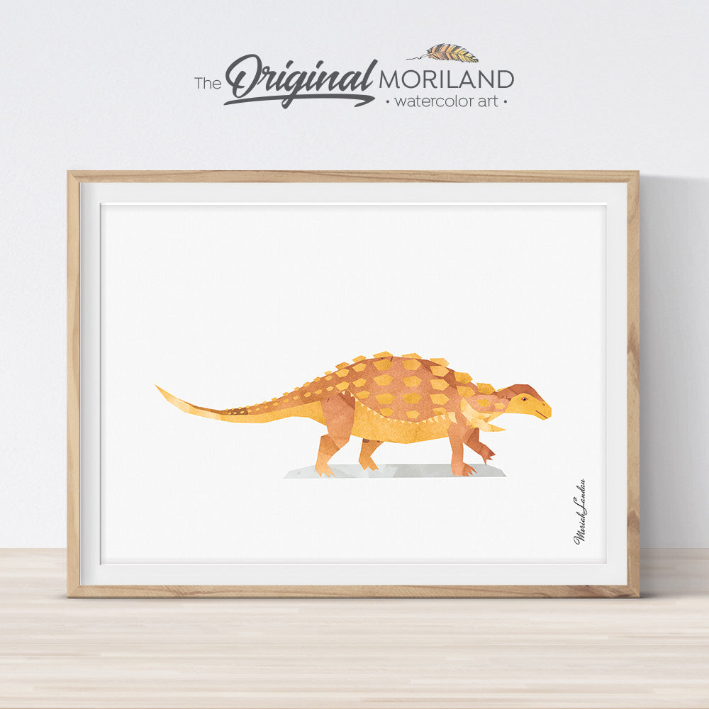 watercolor Edmontonia Dinosaur Print for kid bedroom decor