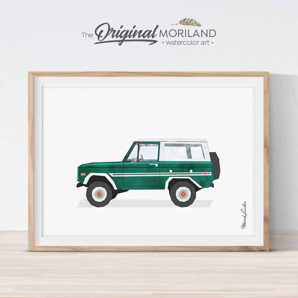 Bronco wall art print for boy bedroom decor