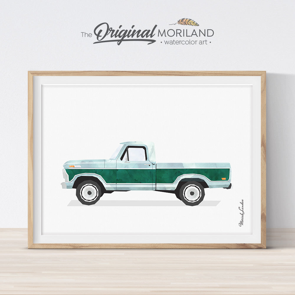 Old Pickup Truck Watercolor Art for boy bedroom decor gift