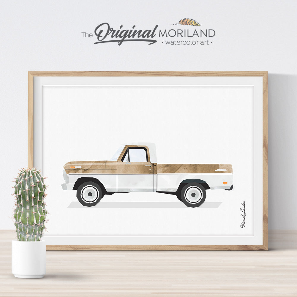 Light Brown Old Truck Print - Printable Art