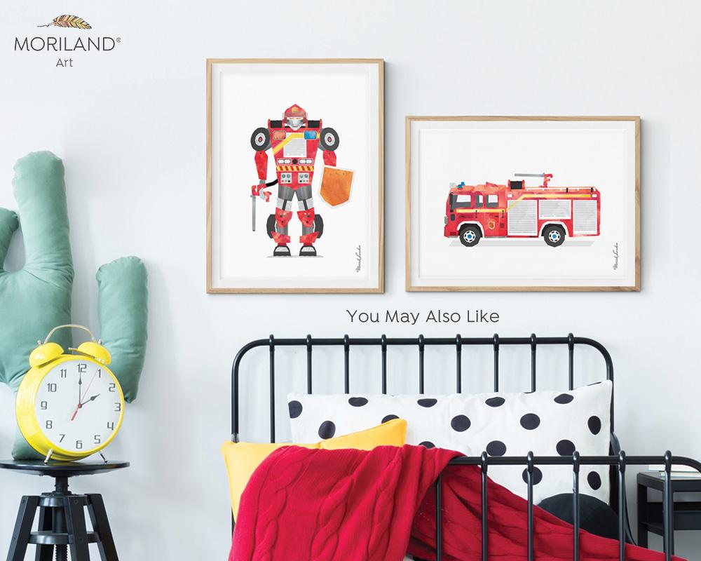 watercolor fire truck robot print for boy room decor