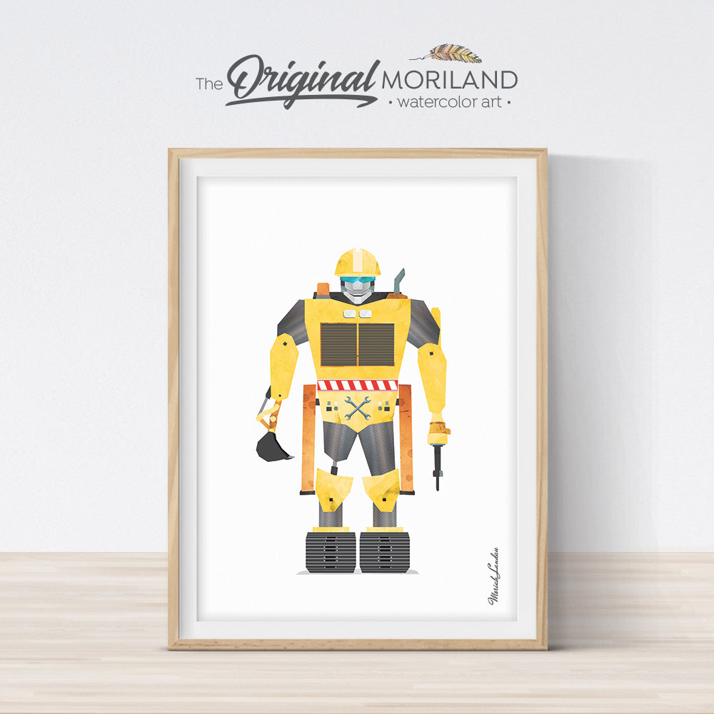 watercolor construction truck robot print for boy room decor