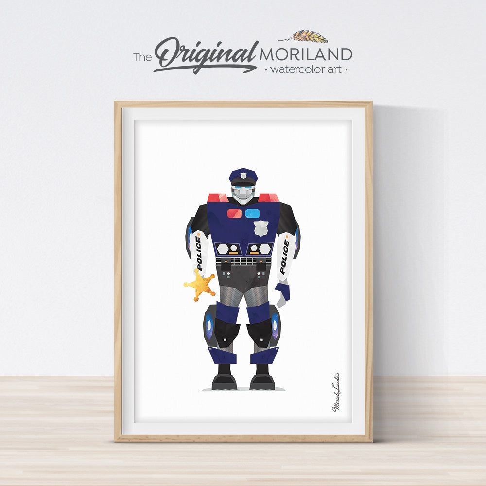 watercolor police robot print for boy room decor