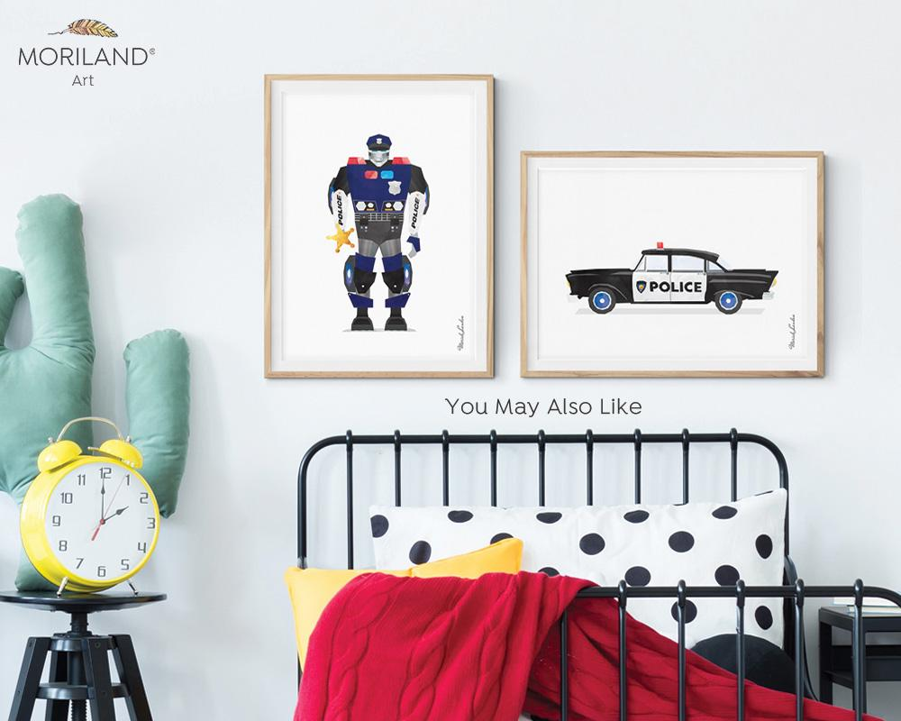 watercolor police car robot print for boy room decor