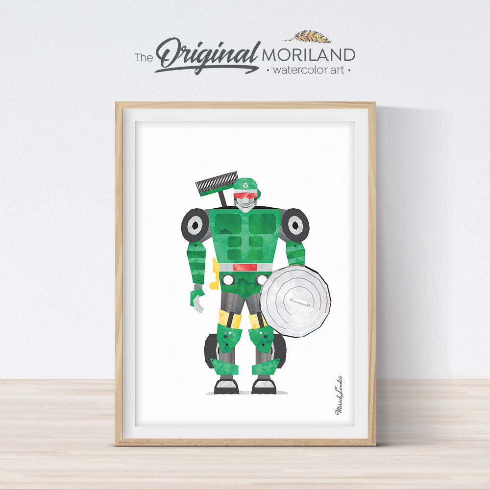 watercolor garbage truck robot print for boy room decor