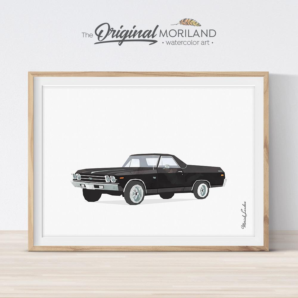 Black classic car illustration for boy bedroom decor