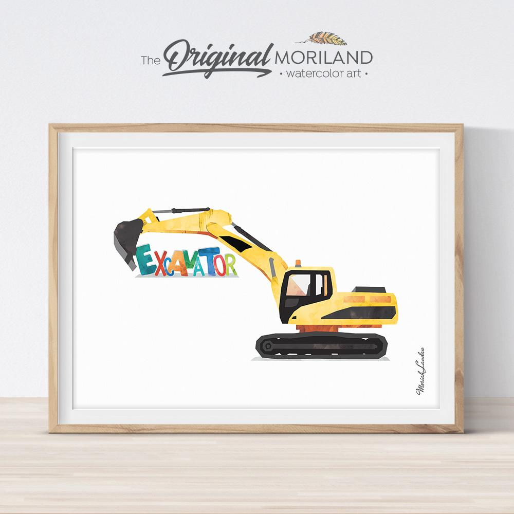 Excavator digger watercolor artwork painting for boy bedroom decor by MORILAND