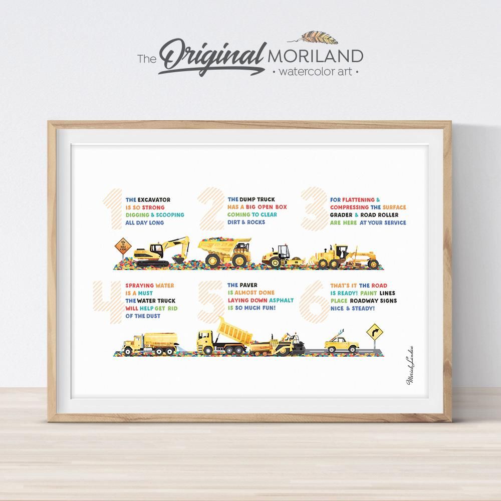 Preschool printable poem, constriction vehicles decor for boy bedroom