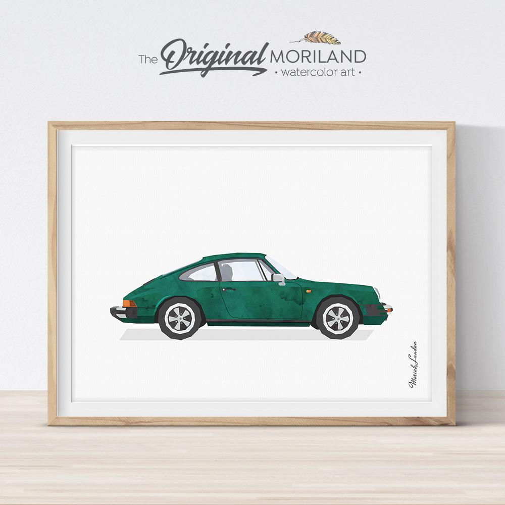 British Racing green Classic sports car art print for boy room decor by MORILAND
