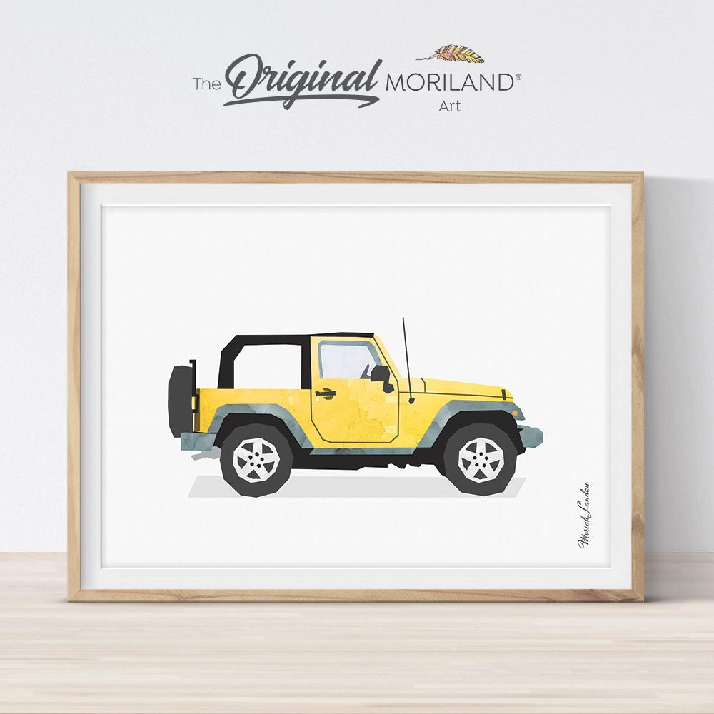 Classic SUV watercolor artwork for big and toddler room decor