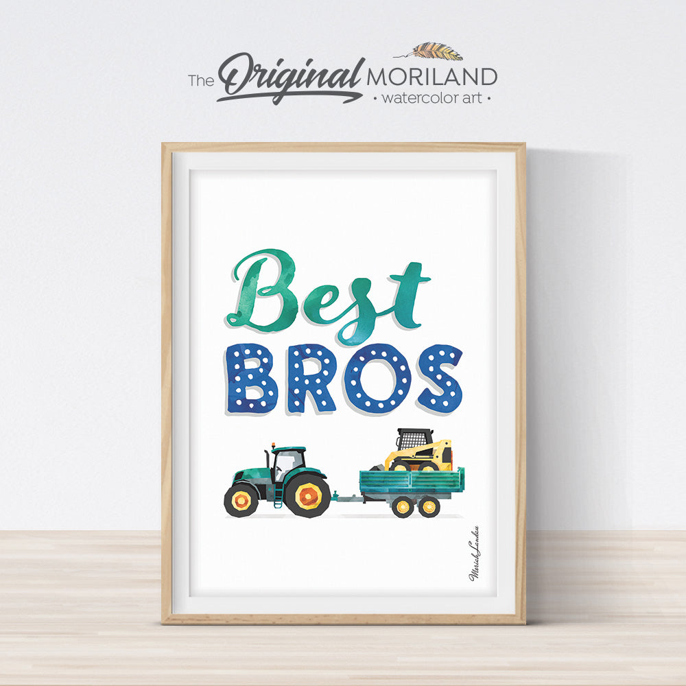 best bros sign with tractor and skid steer for boy bedroom decor