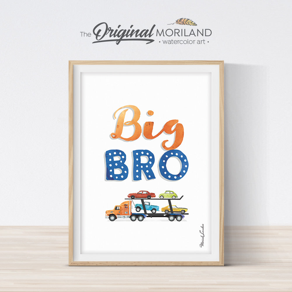 Big bro sign with cars for boy bedroom decor by MORILAND