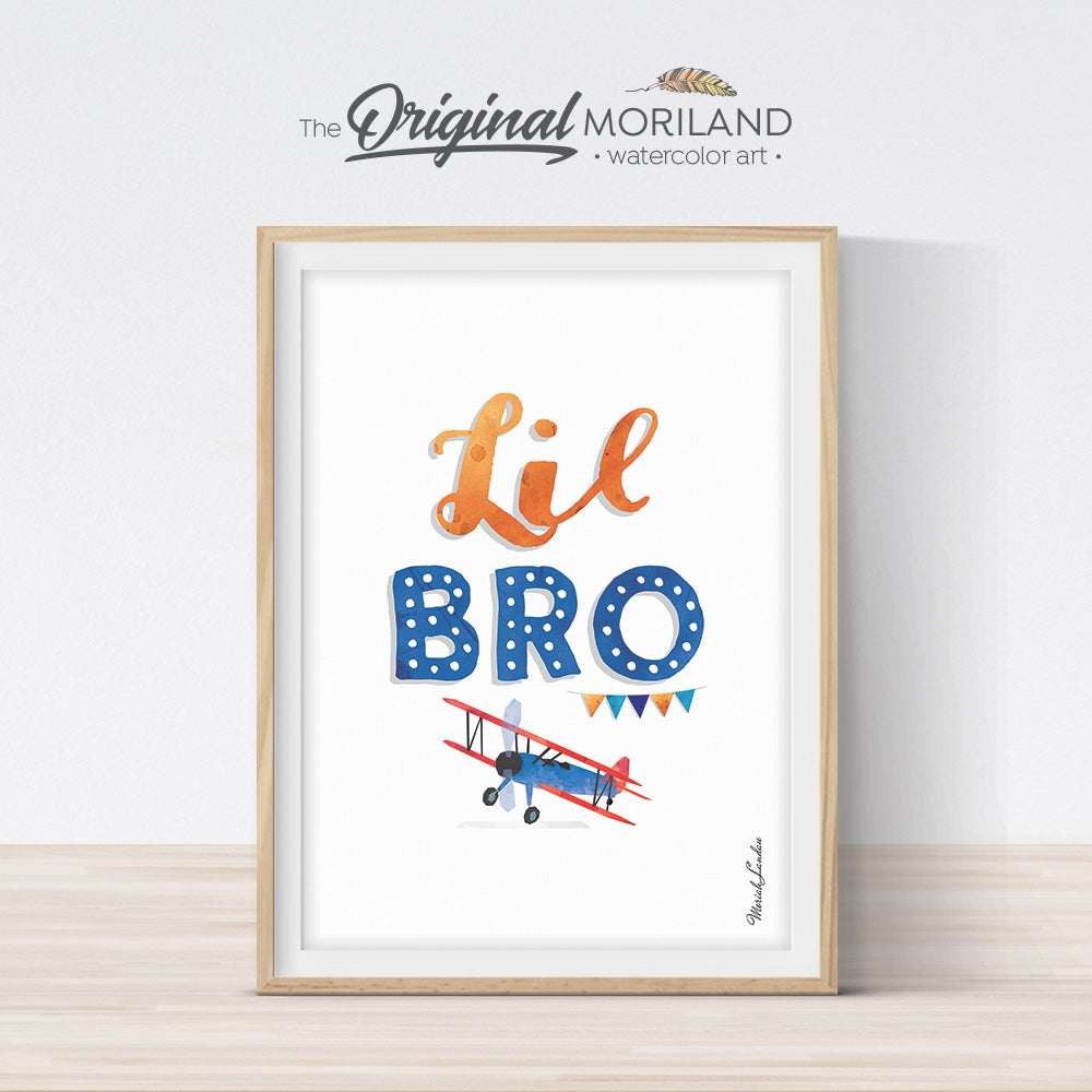 Lil bro, little brother sign printable with plane for boy bedroom decor by MORILAND