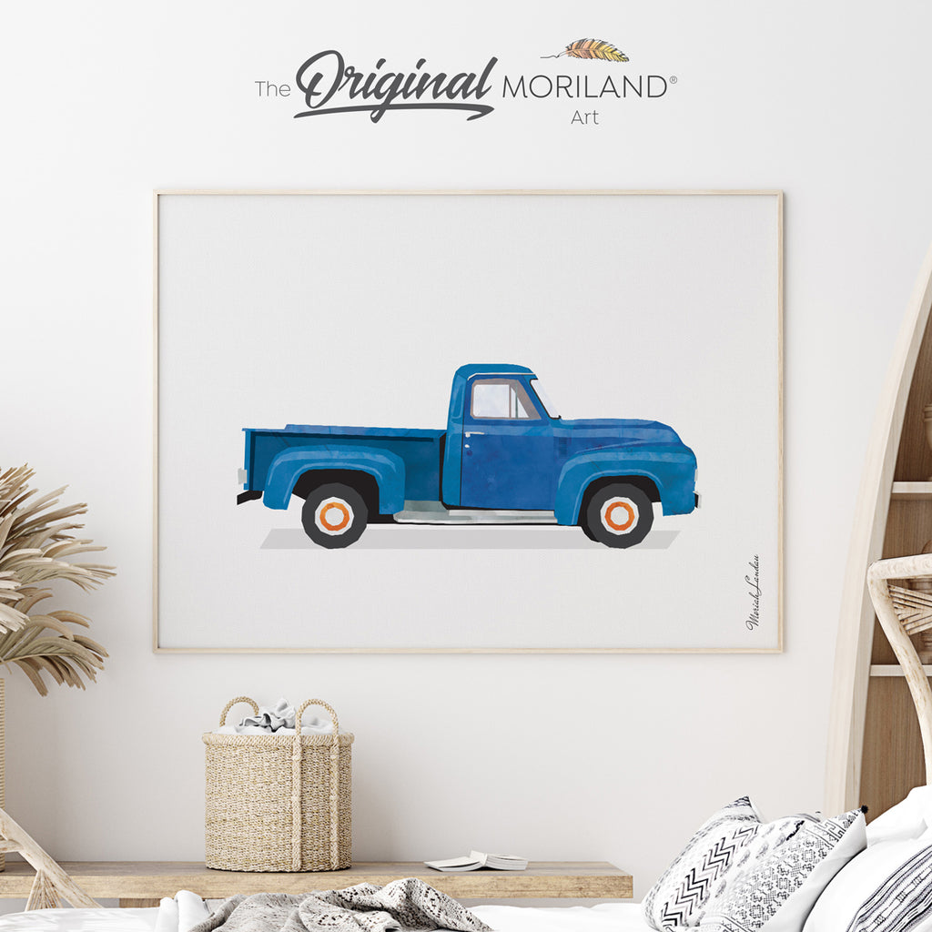 old timer farm pickup truck art print for toddler boy room decor by MORILAND