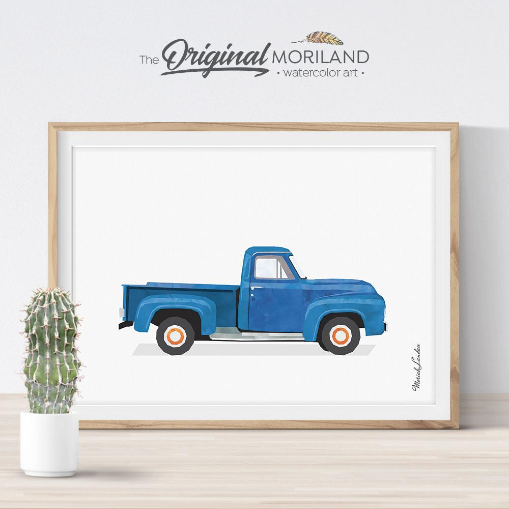 Old timer pickup truck watercolor art for boy bedroom decor by MORILAND