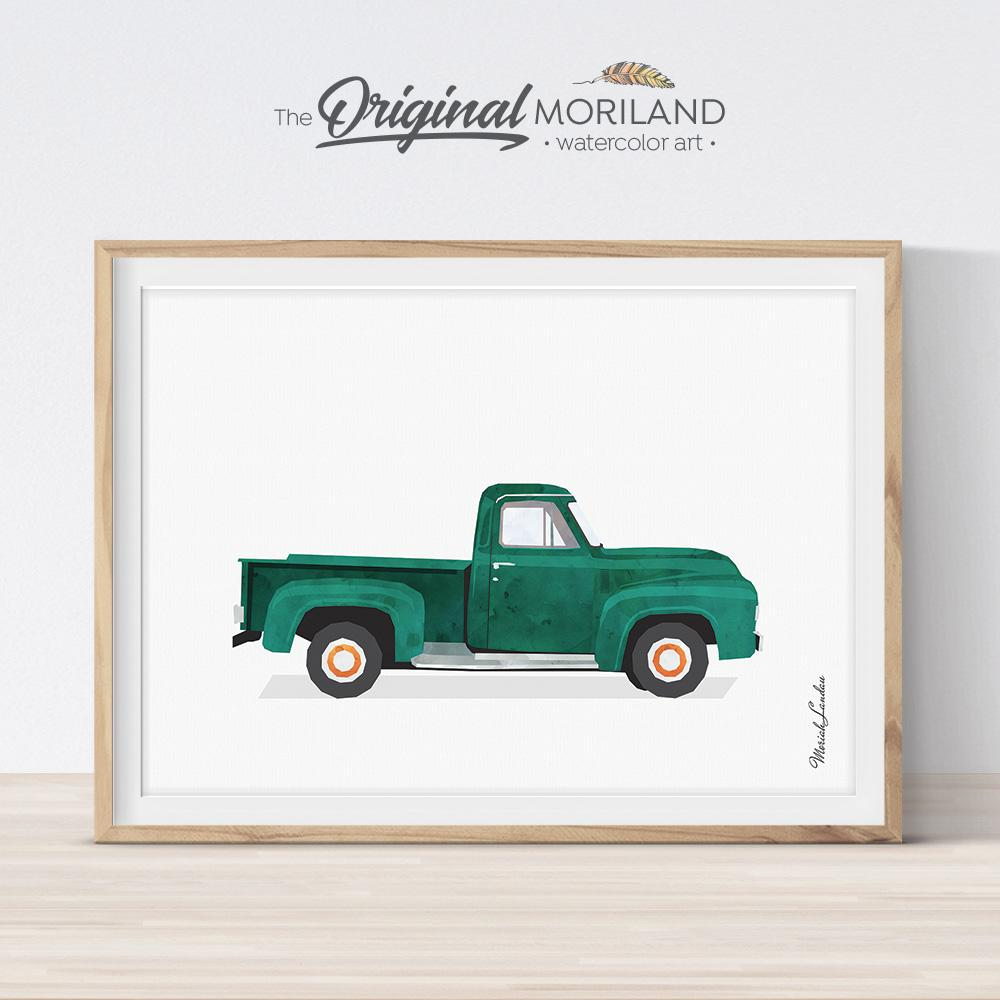 Old timer pickup truck art for boy bedroom decor by MORILAND