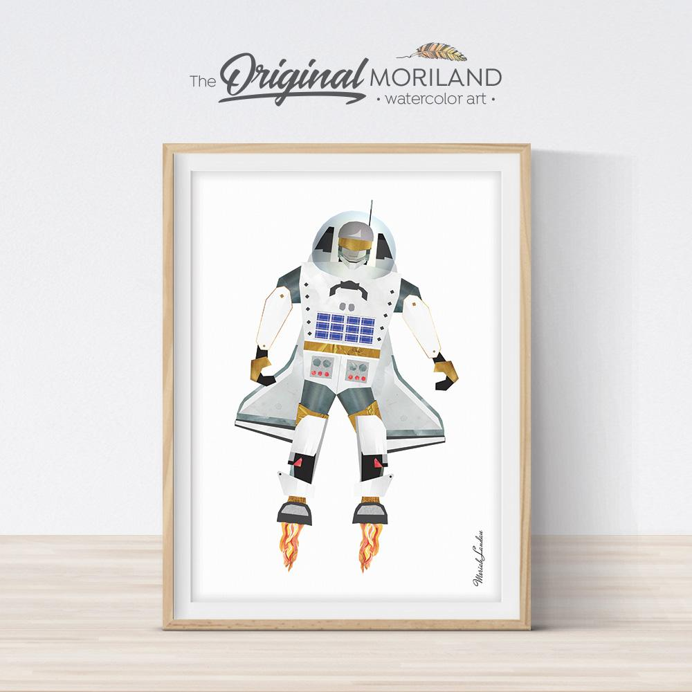 Space astronaut robot from space shuttle art for boy room decor